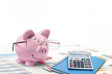 Pig with glasses sitting next to a notebook and calculator with charts underneath them