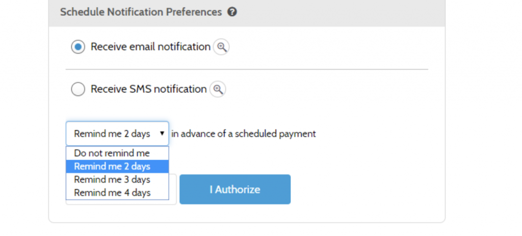 Screenshot of autopay settings with email notification selected
